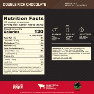 Optimum Nutrition Whey Protein Nutrition Facts for 10 lbs